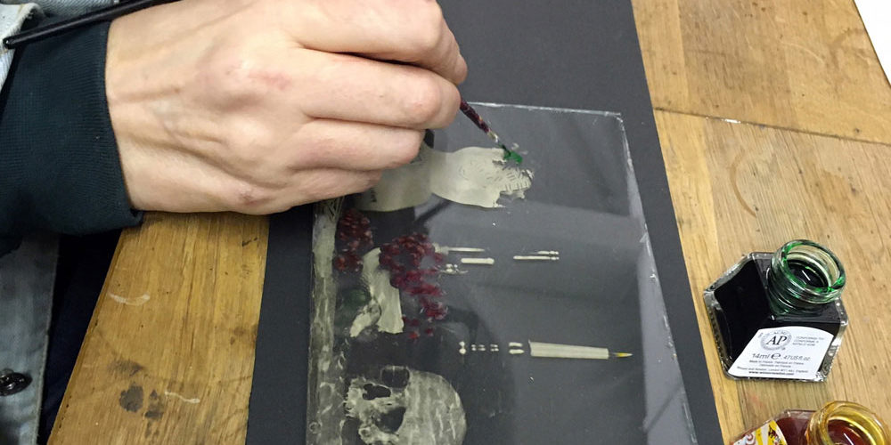 Painting an ambrotype with Windsor & Newton inks