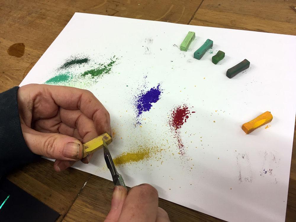 Shaving chalk pastels